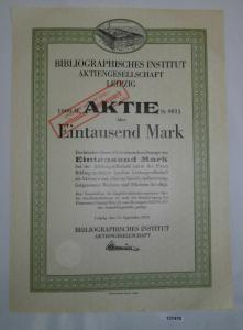 1000 Mark Aktie Bibliographisches Institut AG Leipzig 12.September 1922 (131478)