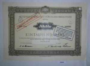 1000 Mark Aktie AG für Filmfabrikation Berlin 20. April 1921 (132049)