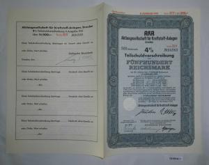 500 Mark Aktie AKA AG für Kraftstoff Anlagen Dresden November 1941 (131914)
