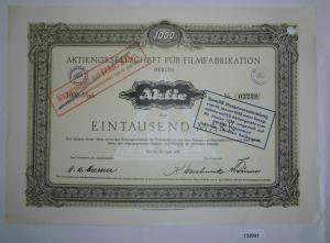 1000 Mark Aktie AG für Filmfabrikation Berlin 20. April 1921 (132041)