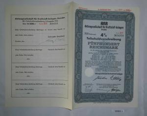 500 Mark Aktie AKA AG für Kraftstoff Anlagen Dresden November 1941 (131911)