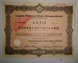 1000 Mark Aktie Langbein-Pfanhauser Werke AG Leipzig 10. Januar 1923 (131760)