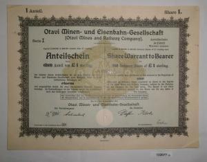 1 Pfund 10 Aktien Otavi Minen-& Eisenbahn-Gesellschaft Berlin 12.9.1921 (132077)