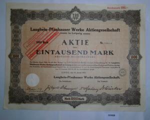 1000 Mark Aktie Langbein-Pfanhauser Werke AG Leipzig 10. Januar 1923 (131920)