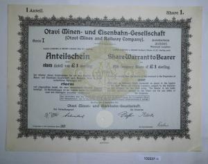 1 Pfund 10 Aktien Otavi Minen-& Eisenbahn-Gesellschaft Berlin 12.9.1921 (132237)
