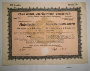 1 Pfund 10 Aktien Otavi Minen-& Eisenbahn-Gesellschaft Berlin 12.9.1921 (132047)