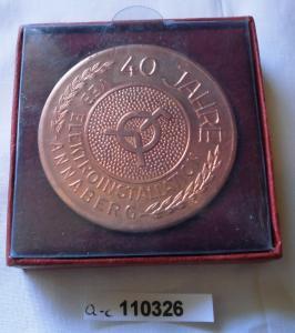 DDR Medaille 40 Jahre VEB Elektroinstallation Annaberg 1988 im Etui (110326)
