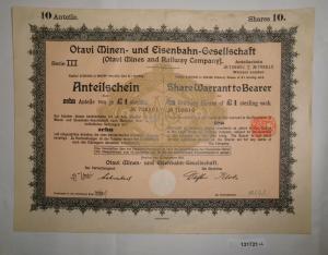 1 Pfund 10 Aktien Otavi Minen-& Eisenbahn-Gesellschaft Berlin 12.9.1921 (131721)