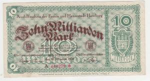 10 Milliarden Mark Banknote Aushilfsschein Hansestadt Hamburg 20.10.1923(115791)