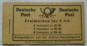 Deutschland Deutsche Post Markenheftchen Nr 123 , Freimarken für 3 RM (111704)