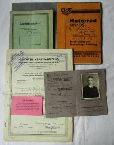 Motorrad Dokumente Führerschein, Fahrzeugbrief, Betriebsanleitung NSU (101301)