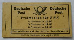 Deutschland Deutsche Post Markenheftchen Nr 123 , Freimarken für 3 RM (116540)