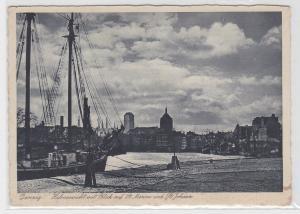 82242 AK Danzig - Hafenansicht mit Blick auf St. Marien und St. Johann