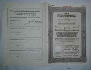 500 RM Schuldverschreibung ASW AG Sächsische Werke Dresden November 1938 /132052