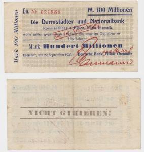 100 Millionen M. Banknote Chemnitz Darmstädter & Nationalbank 22.9.1923 (130357)