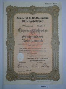 100 RM Genußschein Brauerei C.W. Naumann AG Leipzig-Plagwitz 18.10.1933 (132059)