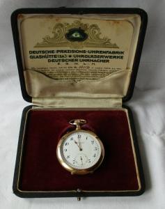 Taschenuhr Deutsche Präzisions-Uhrenfabrik Glashütte 585er Gold um 1900 (102696)
