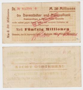 50 Millionen Mark Banknote Chemnitz Darmstädter & Nationalbank 22.9.1923(130340)