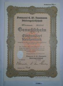 100 RM Genußschein Brauerei C.W. Naumann AG Leipzig-Plagwitz 18.10.1933 (131885)