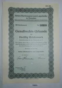 30 RM Genußrechts-Urkunde Aktien-Bierbrauerei zum Lagerkeller Dresden (132073)