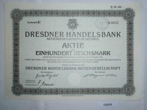 100 Reichsmark Aktie Dresdner Handelsbank AG in Dresden November 1924 (132376)