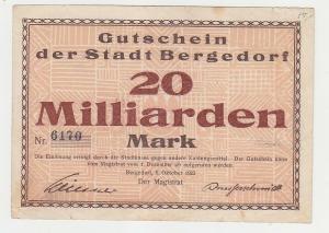 20 Milliarden Mark Banknoten Stadt Bergedorf 9.10.19123 (115613)