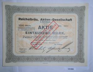 1000 Mark Aktie Reichelbräu AG Kulmbach November 1923 (131293)