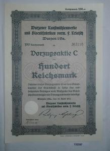 100 Reichsmark Aktie Wurzener Kunstmühlenwerke & Biscuitfabriken 1931 (132397)