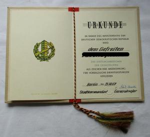 DDR Urkunde Leistungsabzeichen der Grenztruppen 19. Oktober 1967 (100187)
