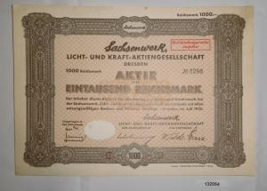 1000 Reichsmark Aktie Sachsenwerk Licht- und Kraft-AG Dresden Juli 1935 (132054)