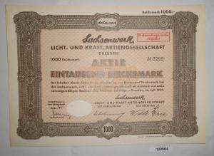 1000 Reichsmark Aktie Sachsenwerk Licht- und Kraft-AG Dresden Juli 1935 (130964)