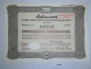 1000 Reichsmark Aktie Sachsenwerk Licht- und Kraft-AG Dresden Juli 1935 (131882)