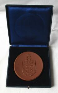 DDR Meissner Porzellan Medaille SDAG Wismut Aue Bergbaubetrieb im Etui (100797)