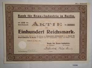 100 Mark Aktie Bank für Brau Industrie in Berlin März 1933 (132382)