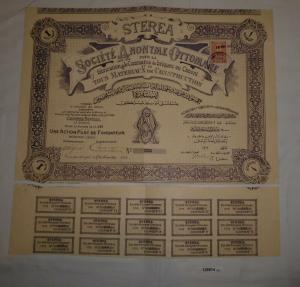 1 Aktie Sterea Société Anonyme Ottomane fabrication & commerce 1913 (128814)