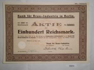 100 Mark Aktie Bank für Brau Industrie in Berlin März 1933 (132214)