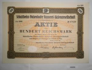 100 Mark Aktie Schultheiss Patzenhofer Brauerei in Berlin August 1932 (132233)