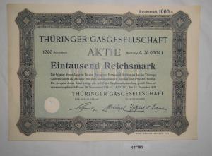 1000 Reichsmark Aktie Thüringer Gasgesellschaft Leipzig 23. Dez. 1924  (127783)