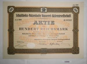 100 Mark Aktie Schultheiss Patzenhofer Brauerei in Berlin August 1932 (132055)
