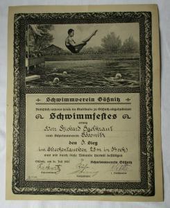 Urkunde Schwimmverein Gößnitz Schwimmfest Streckentauchen 1925 (107909)