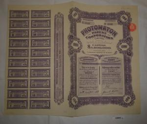1 Pfund 100 Aktien Photomaton Parent Corporation London 30. Juni 1928 (126903)