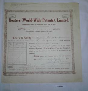 1 Pfund 2000 Aktien Heaters (World-Wide Patents) London 21. März 1921 (126894)