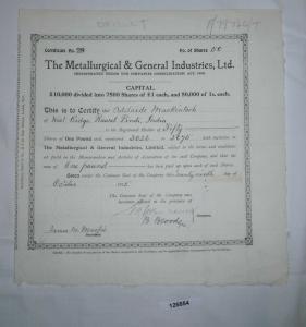 1 Pfund 50 Aktien The Metallurgical & General Industries 29. Okt. 1915 (126854)