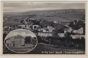 93818 Ak Grün bei Asch Sudetengau Gasthaus zum blauen Engel 1939