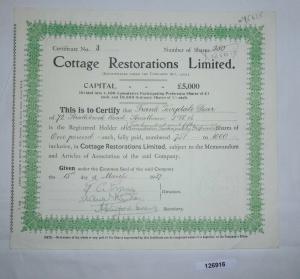 1 Pfund 250 Aktien Cottage Restorations Limited 15. März 1937 (126916)