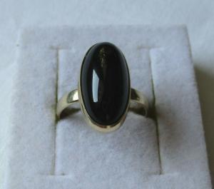 Eleganter 925er Sterling Silber Ring mit großem Onyx Stein (117682)