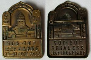 Seltenes Abzeichen 225 Jahre Infanterie Regiment 106 - 107 Leipzig 1933 (105407)