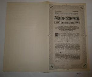 1000 Kronen Schuldverschreibung Anleihe der Landeshauptstadt Graz 1921 (126713)
