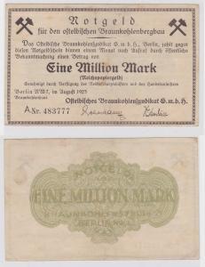 1 Million Mark Banknote Berlin Ostelbische Braunkohlensyndikat 1923 (121344)