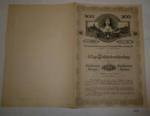 500 Kronen Schuldverschreibung Anlehen K.K. Residenzstadt Wien 1908 (127112)